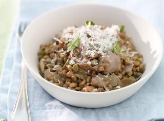 Farrotto con salsiccia e lenticchie