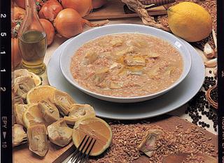 Ricetta Zuppa di farro e carciofi