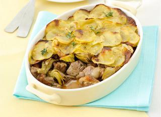 Ricetta Teglia di capretto, carciofi e patate