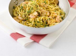 Spaghetti gamberi e uova