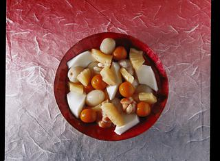 Macedonia con gelatina di mandorle alla cinese