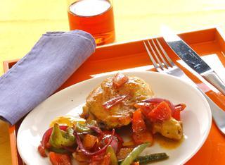 Pollo allo zafferano con verdure