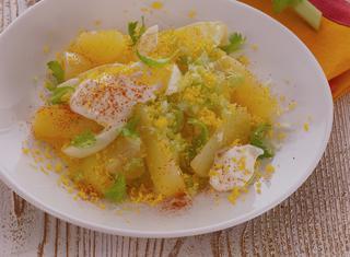 Patate alla maionese con mimosa di uova sode e paprica