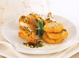 Pollo alle mandorle con crocchette di patate