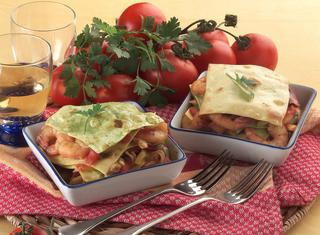Tortini di lasagne ai frutti di mare
