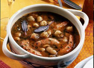 Ricetta Zuppa di fagioli, ceci e gamberi