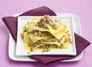 Ricetta Lasagnette aperte con lenticchie