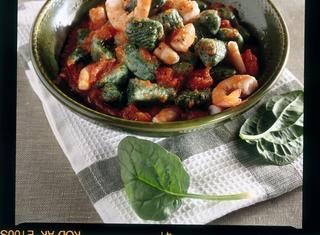 Ricetta Gnocchi di spinaci con i gamberi