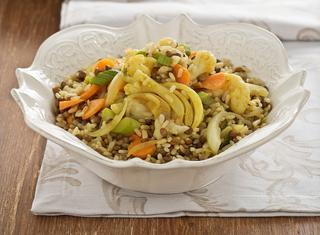 Ricetta Riso con verdure saltate e lenticchie