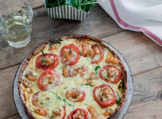 Ricetta Quiche di gamberi, rucola e pomodorini