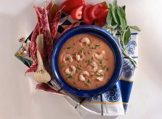 Ricetta Crema di fagioli e gamberetti