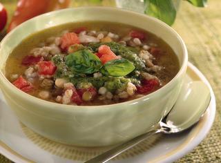 Ricetta Zuppa di legumi al pesto