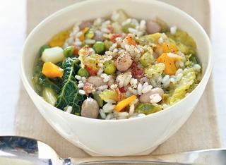 Zuppa con riso e verza