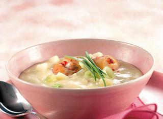 Ricetta Crema di patate, porri e capesante allo zenzero