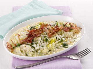Come preparare il risotto porri e speck