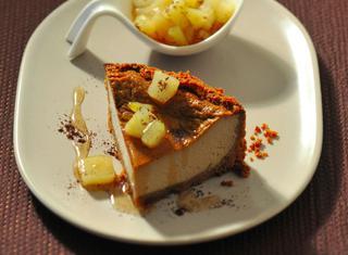 Cheesecake con ricotta, pere e caffè