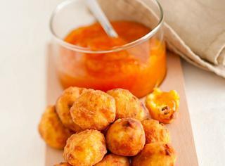 Polenta fritta dolce ripiena di confettura di albicocche