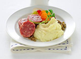 Zampone e lenticchie con purè
