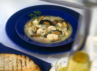 Zuppa di cozze, orata e spigola