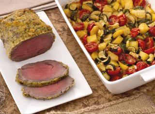 Roast beef agli agrumi con teglia di patate