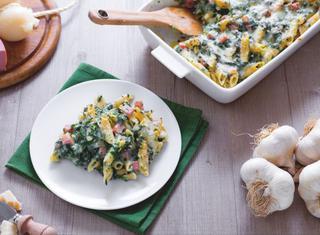 Pasticcio di pasta con gli spinaci