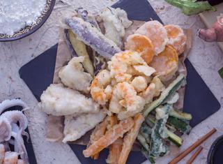 Tempura di calamari e verdure