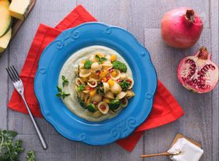 Ricetta: orecchiette alla crema di broccoli, zucca e melagrana