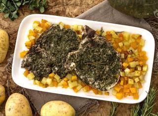 Braciole alle erbe con zucca e patate