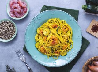Linguine gamberetti, zucchine e zafferano