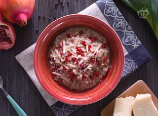 Ricetta: risotto in crema di porri e melagrana
