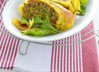 Strudel di carne e piattoni con zenzero e curry