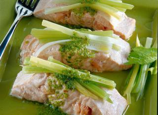 Tranci di salmone con salsa piccante