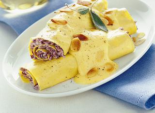 I cannelloni con radicchio e zabaione salato
