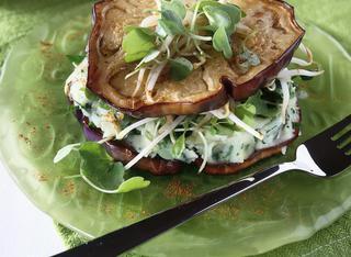 Sandwich di melanzane al purè di patate