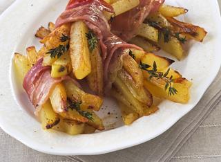 Mazzetti di patate al forno con prosciutto