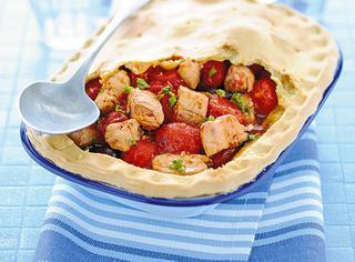 Impanata di pesce spada con olive e pomodorini
