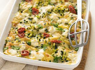 Lasagne con zucchine, caprino e rucola