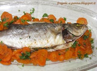 Spigola al forno con letto di carote