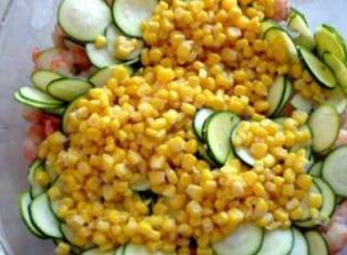 Code di gambero, zucchine e mais
