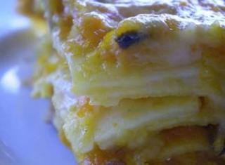 Lasagne alla zucca e funghi veloci