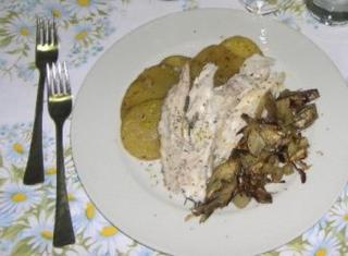 Ombrina con carciofi e patate