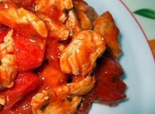 Pollo con peperone in agrodolce