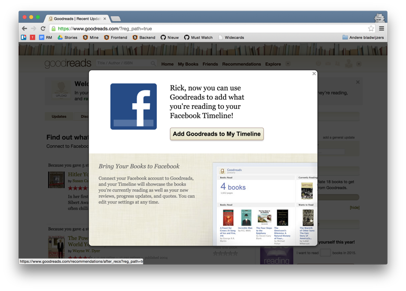 Goodreads connect Facebook timeline