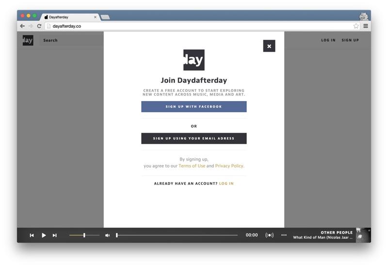 Dayafterday sign up