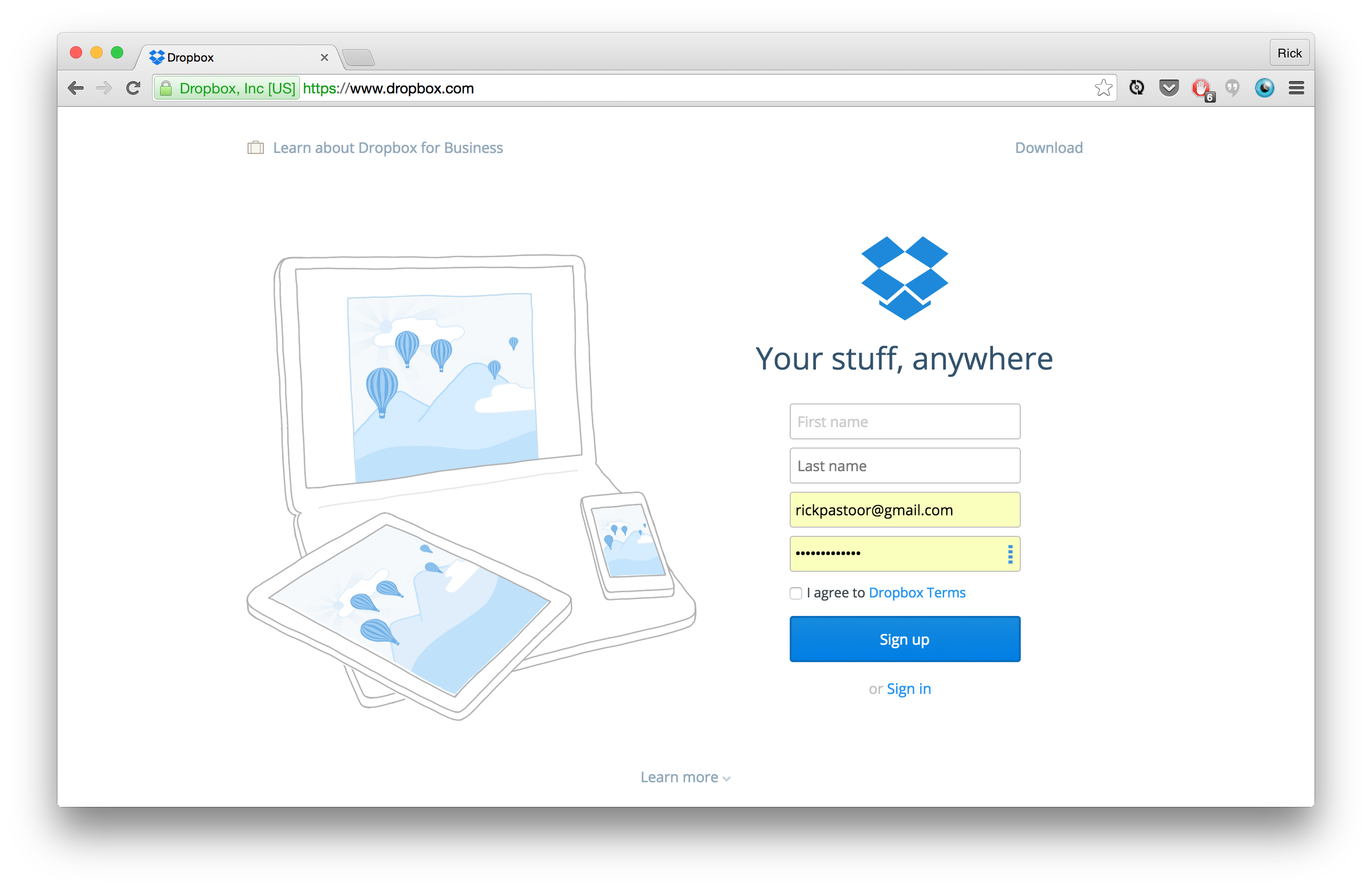 Dropbox Signup Form