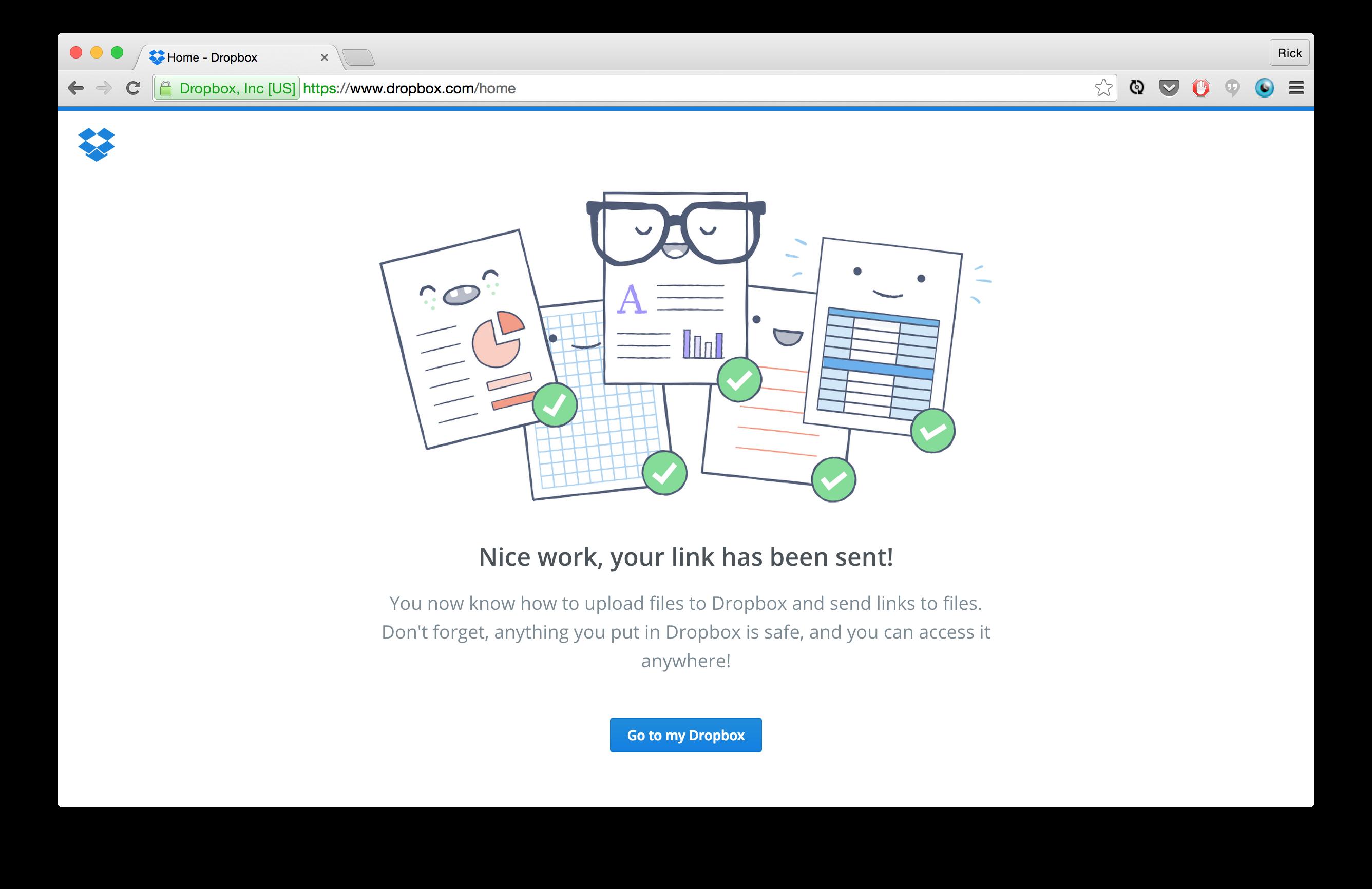 Dropbox Share Successful