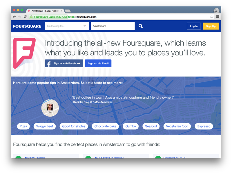 Foursquare home page