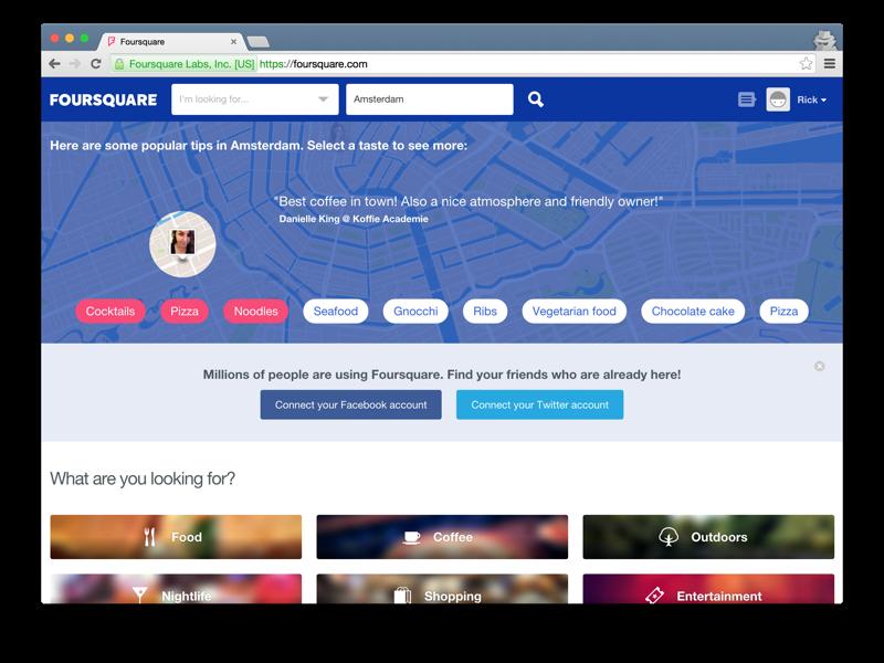 Foursquare main page