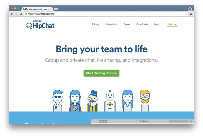 Hipchat home page