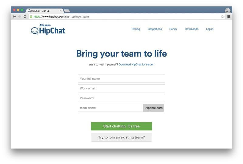 Hipchat create a team
